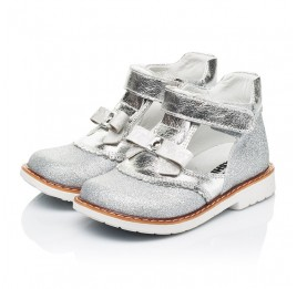 Детские туфли Woopy Orthopedic серебряные для девочек натуральная кожа, искусственный материал  размер 23-30 (7195) Фото 3