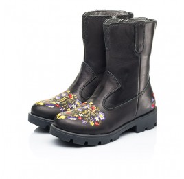 Детские зимние сапоги на меху Woopy Fashion черные для девочек натуральная кожа размер 31-39 (7197) Фото 3