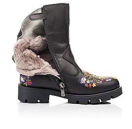 Детские зимние сапоги на меху Woopy Fashion черные для девочек натуральная кожа размер 31-39 (7197) Фото 5