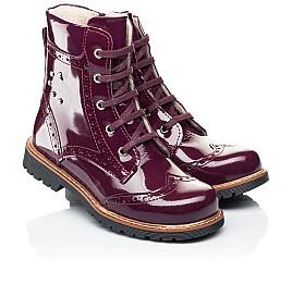 Детские демисезонные ботинки Woopy Orthopedic малиновые для девочек натуральная лаковая кожа размер 28-38 (7199) Фото 1