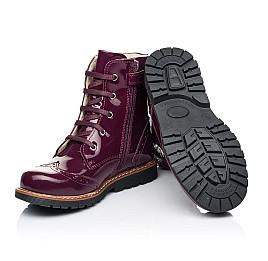 Детские демисезонные ботинки Woopy Orthopedic малиновые для девочек натуральная лаковая кожа размер 28-38 (7199) Фото 2