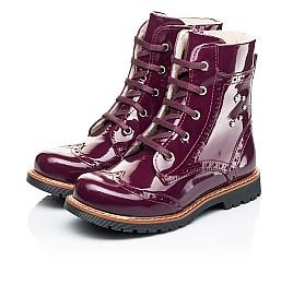 Детские демисезонные ботинки Woopy Orthopedic малиновые для девочек натуральная лаковая кожа размер 28-38 (7199) Фото 3