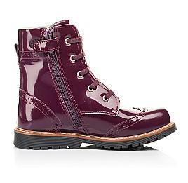 Детские демисезонные ботинки Woopy Orthopedic малиновые для девочек натуральная лаковая кожа размер 28-38 (7199) Фото 5