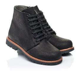 Детские демисезонные ботинки Woopy Orthopedic черные для девочек натуральный нубук размер 31-40 (7201) Фото 1