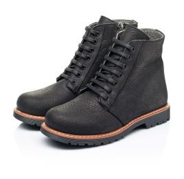 Детские демисезонные ботинки Woopy Orthopedic черные для девочек натуральный нубук размер 31-40 (7201) Фото 3