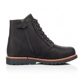 Детские демисезонные ботинки Woopy Orthopedic черные для девочек натуральный нубук размер 31-40 (7201) Фото 5
