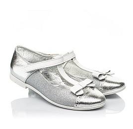 Детские туфли Woopy Fashion серебряные для девочек натуральная кожа, искусственный материал  размер 28-35 (7204) Фото 1
