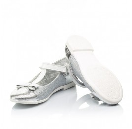 Детские туфли Woopy Fashion серебряные для девочек натуральная кожа, искусственный материал  размер 28-35 (7204) Фото 2