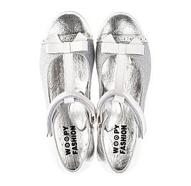 Детские туфли Woopy Fashion серебряные для девочек натуральная кожа, искусственный материал  размер 28-35 (7204) Фото 5