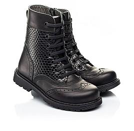 Детские демисезонные ботинки Woopy Orthopedic черные для девочек натуральная кожа размер 25-32 (7206) Фото 1