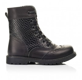Детские демисезонные ботинки Woopy Orthopedic черные для девочек натуральная кожа размер 25-32 (7206) Фото 4