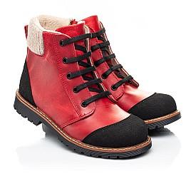 Детские демисезонные ботинки Woopy Orthopedic красные для девочек натуральная кожа размер 23-37 (7209) Фото 1