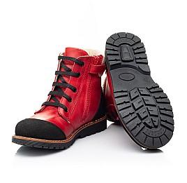 Детские демисезонные ботинки Woopy Orthopedic красные для девочек натуральная кожа размер 23-37 (7209) Фото 2