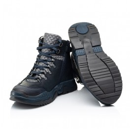 Детские демисезонные ботинки Woopy Fashion темно-синие для мальчиков натуральный нубук OIL размер 29-37 (7212) Фото 2