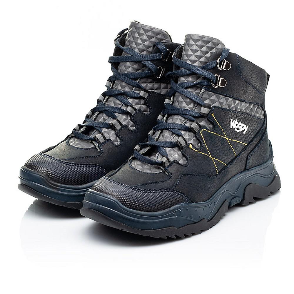 Детские ботинки еврозима Woopy Fashion темно-синие для мальчиков натуральный нубук OIL размер 29-39 (7212) Фото 3