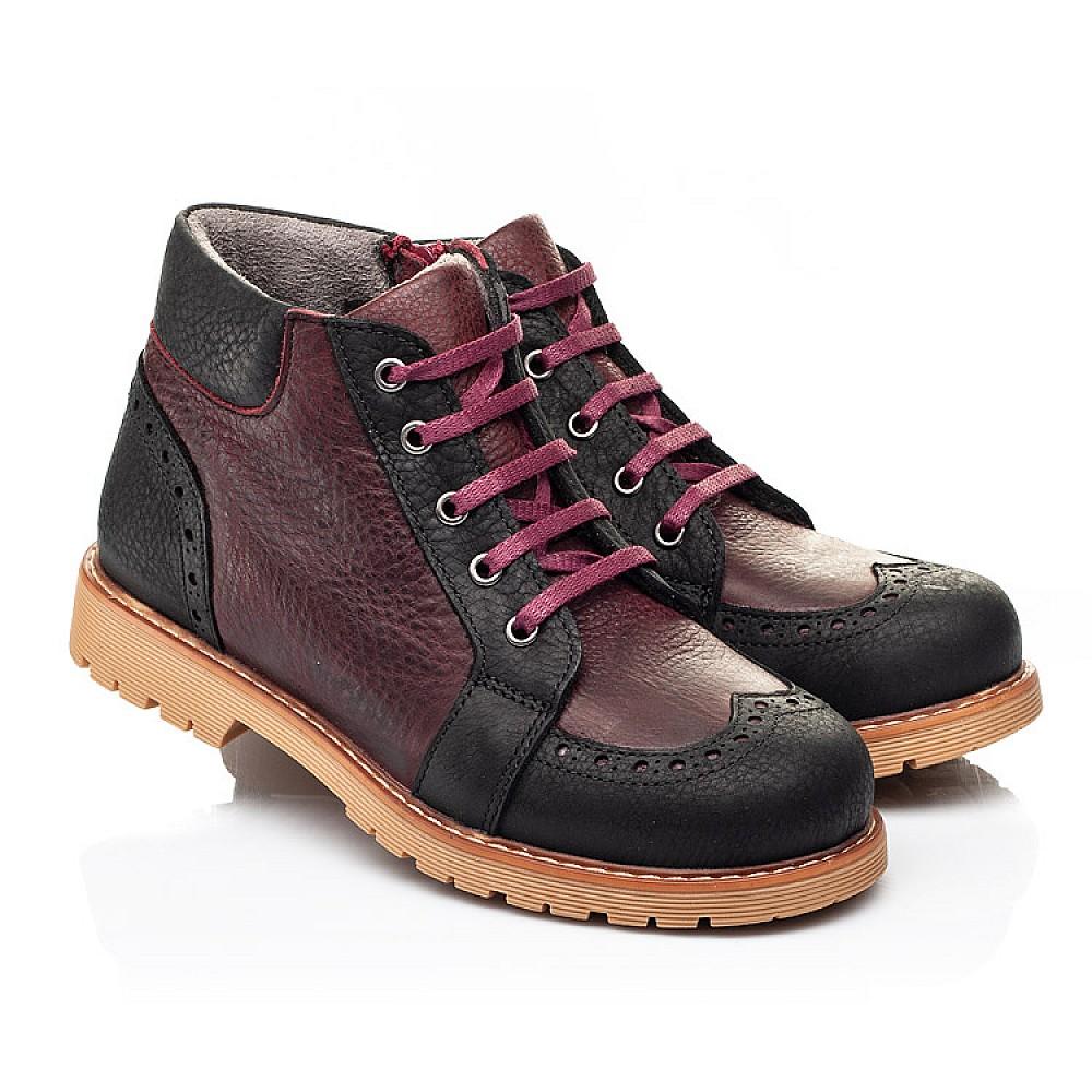 Детские демисезонные ботинки Woopy Orthopedic черные, бордовые для мальчиков натуральный нубук OIL размер 31-40 (7214) Фото 1