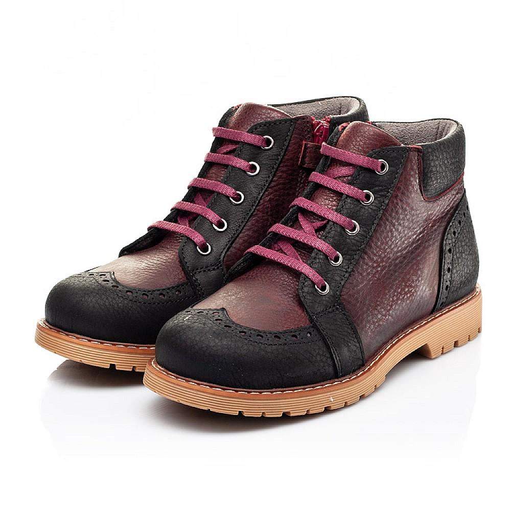 Детские демисезонные ботинки Woopy Orthopedic черные, бордовые для мальчиков натуральный нубук OIL размер 31-40 (7214) Фото 3