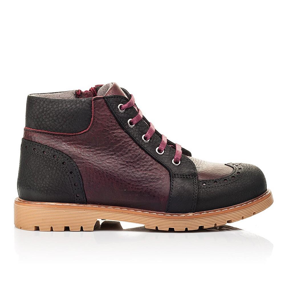 Детские демисезонные ботинки Woopy Orthopedic черные, бордовые для мальчиков натуральный нубук OIL размер 31-40 (7214) Фото 4