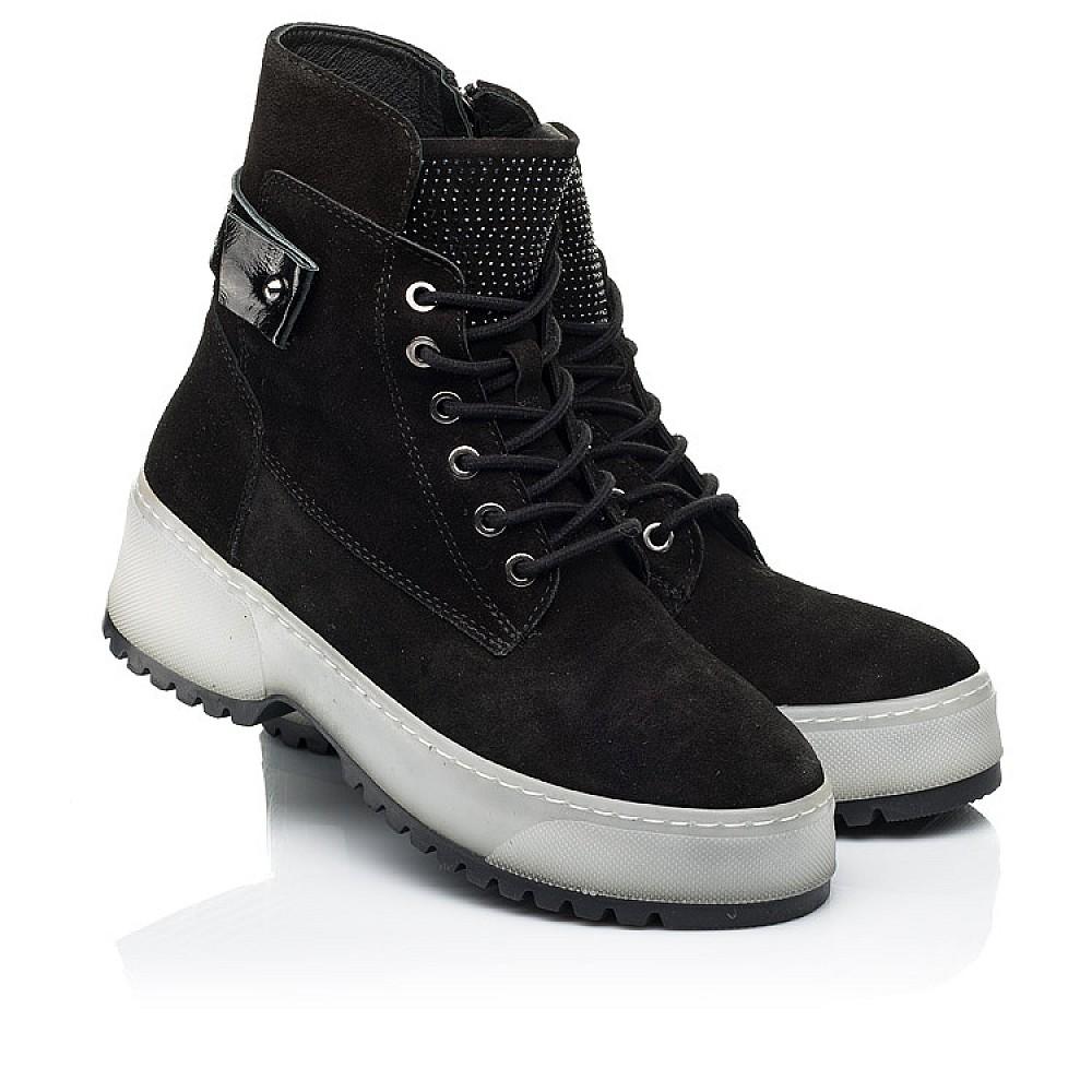 Детские зимние ботинки на меху Woopy Fashion черные для девочек натуральная замша размер 35-40 (7216) Фото 1