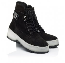 Детские зимние ботинки на меху Woopy Fashion черные для девочек натуральная замша размер 36-40 (7216) Фото 1