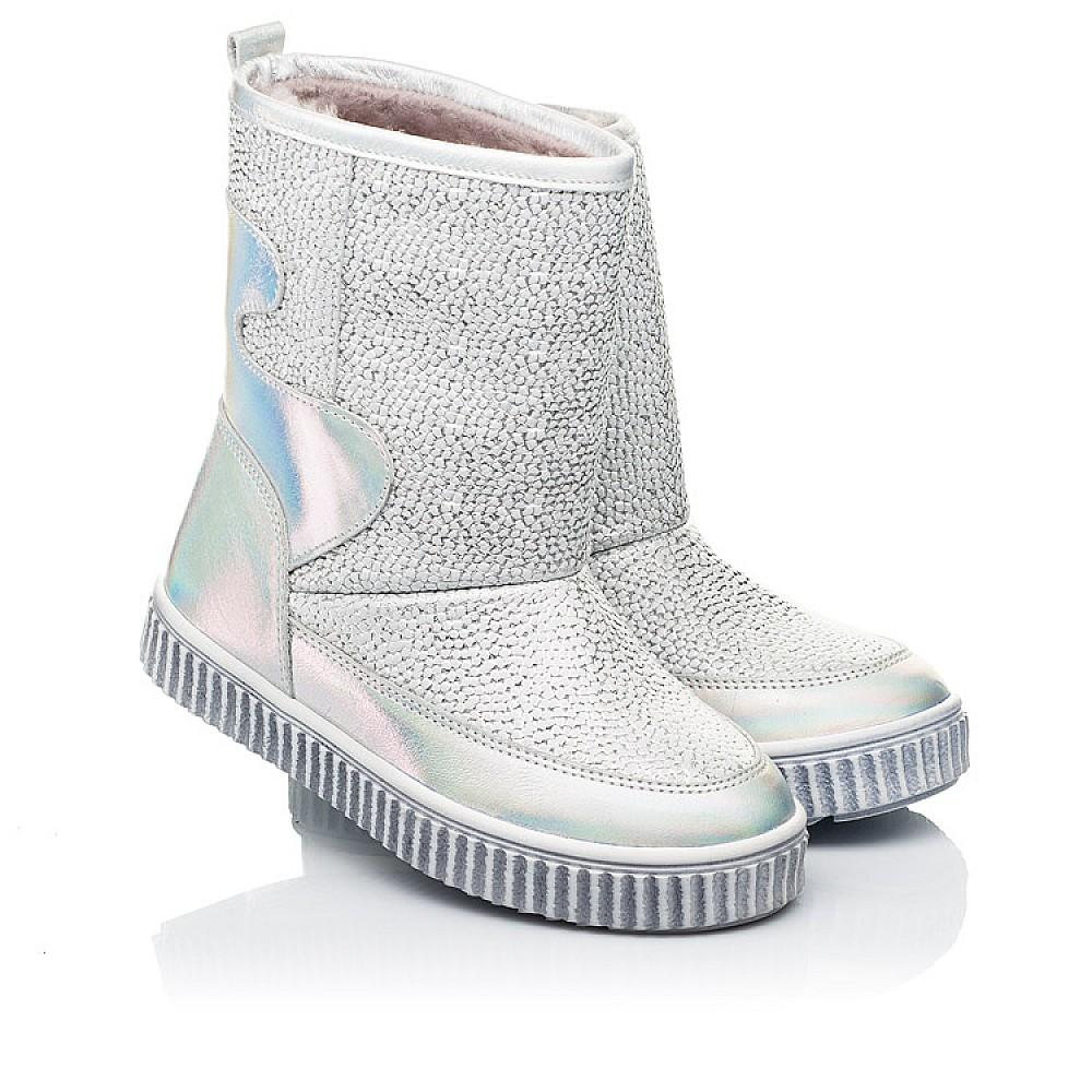 Детские зимние ботинки на меху Woopy Fashion серебряные для девочек натуральная кожа размер 26-36 (7217) Фото 1