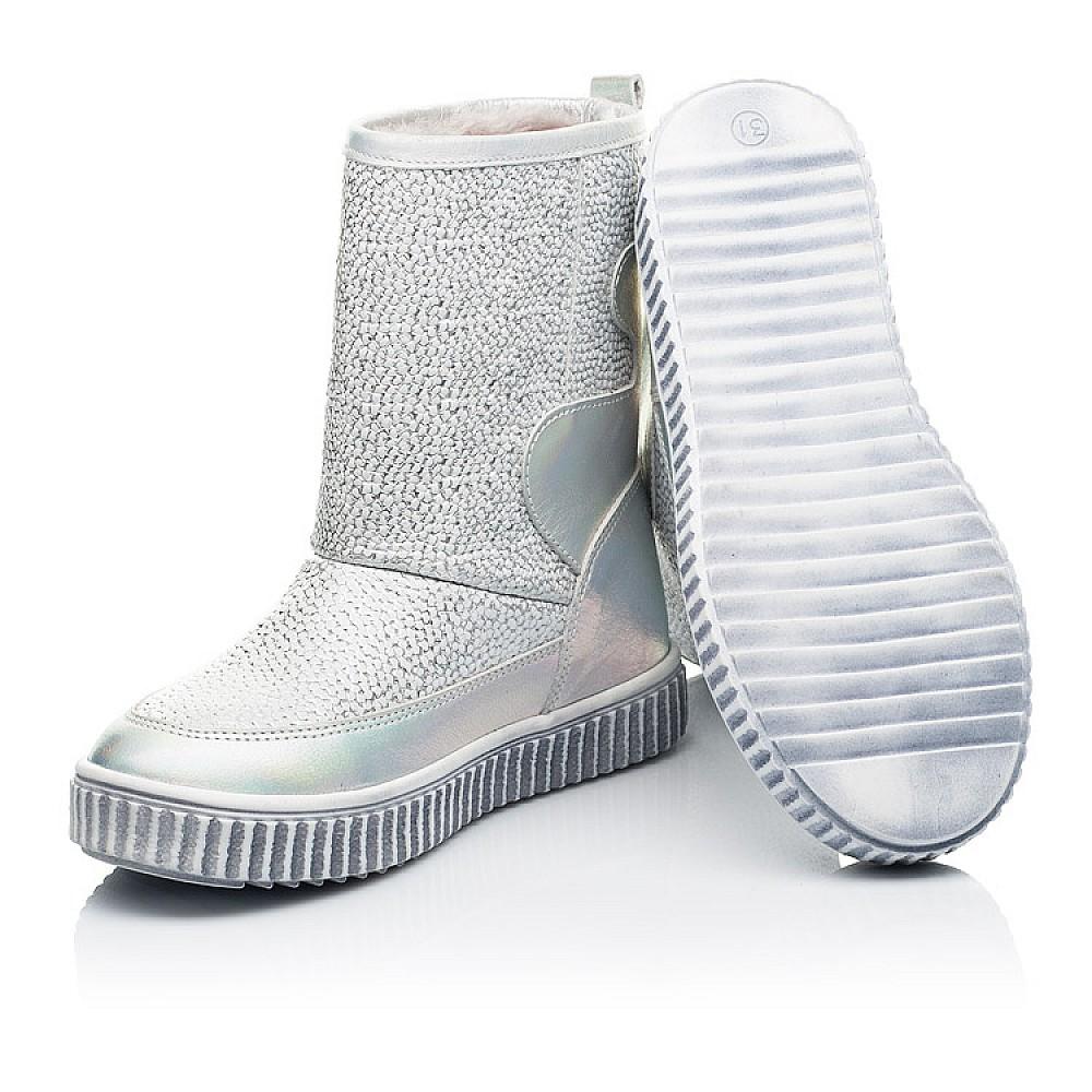 Детские зимние ботинки на меху Woopy Fashion серебряные для девочек натуральная кожа размер 26-36 (7217) Фото 2