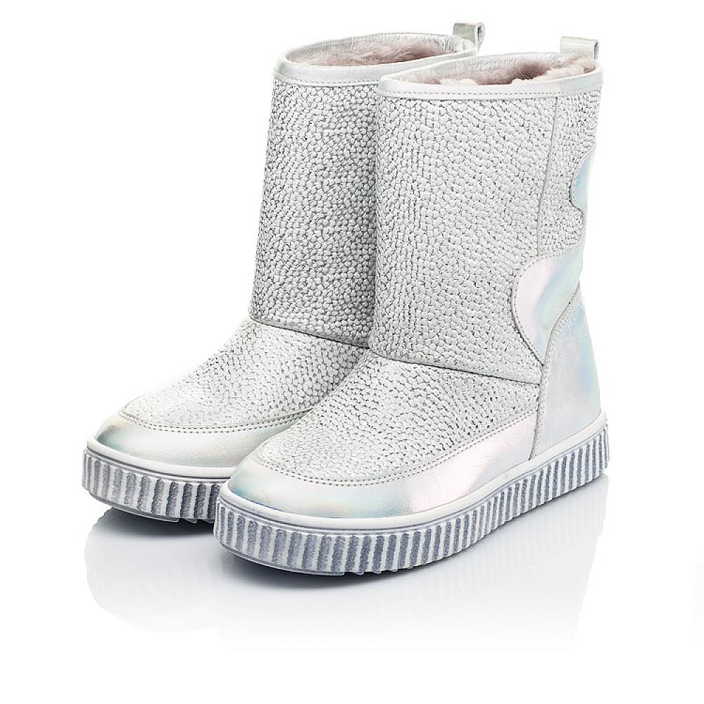 Детские зимние сапоги на меху Woopy Fashion серебряные для девочек натуральная кожа размер 26-36 (7217) Фото 3