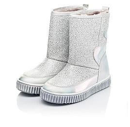 Детские зимние ботинки на меху Woopy Fashion серебряные для девочек натуральная кожа размер 26-36 (7217) Фото 3