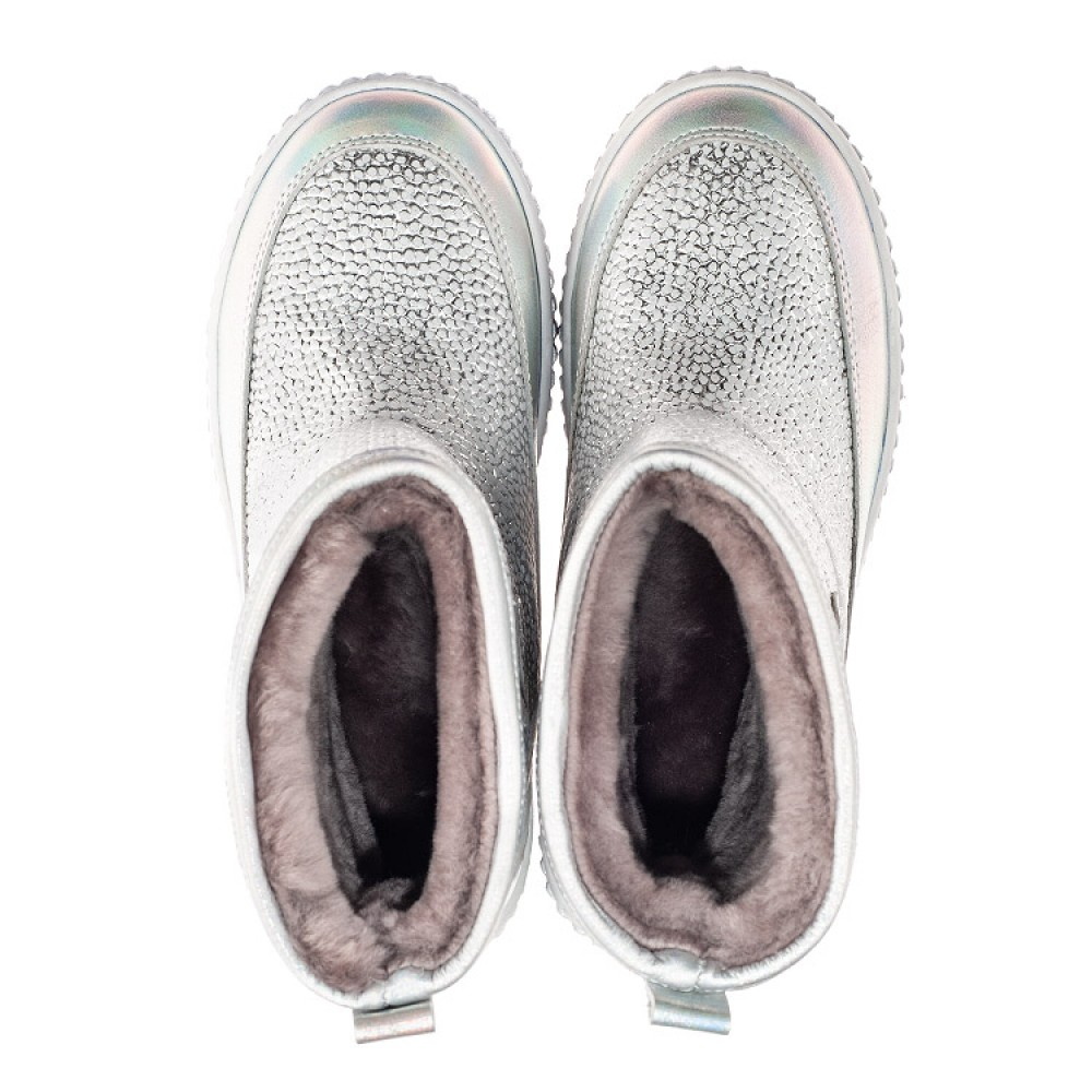 Детские зимние сапоги на меху Woopy Fashion серебряные для девочек натуральная кожа размер 26-36 (7217) Фото 5