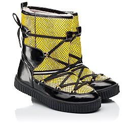 Детские зимние ботинки на меху Woopy Fashion желтые для девочек натуральная лаковая кожа размер 29-38 (7218) Фото 1