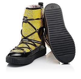 Детские зимние ботинки на меху Woopy Fashion желтые для девочек натуральная лаковая кожа размер 29-38 (7218) Фото 2