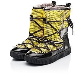 Детские зимние ботинки на меху Woopy Fashion желтые для девочек натуральная лаковая кожа размер 29-38 (7218) Фото 3