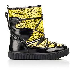Детские зимние ботинки на меху Woopy Fashion желтые для девочек натуральная лаковая кожа размер 29-38 (7218) Фото 4