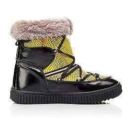 Детские зимние ботинки на меху Woopy Fashion желтые для девочек натуральная лаковая кожа размер 29-38 (7218) Фото 5