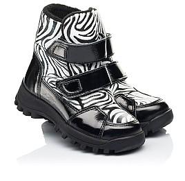 Детские ботинки еврозима Woopy Fashion черные для девочек натуральная лаковая кожа и нубук размер 22-31 (7219) Фото 1