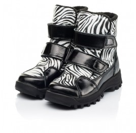 Детские ботинки еврозима Woopy Fashion черные для девочек натуральная лаковая кожа и нубук размер 22-31 (7219) Фото 3