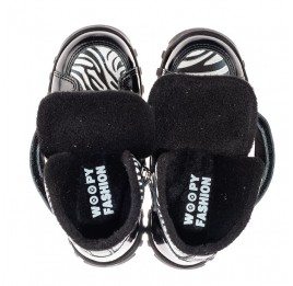 Детские ботинки еврозима Woopy Fashion черные для девочек натуральная лаковая кожа и нубук размер 22-31 (7219) Фото 5
