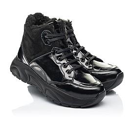 Детские зимние ботинки на шерсти Woopy Fashion черные для девочек натуральная лаковая кожа и замша размер 33-39 (7221) Фото 1