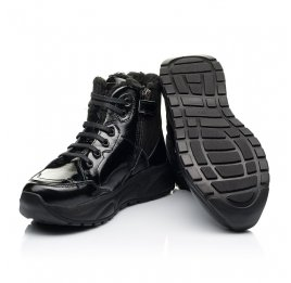 Детские зимние ботинки на шерсти Woopy Fashion черные для девочек натуральная лаковая кожа и замша размер 33-39 (7221) Фото 2