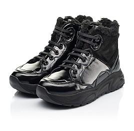 Детские зимние ботинки на шерсти Woopy Fashion черные для девочек натуральная лаковая кожа и замша размер 33-39 (7221) Фото 3