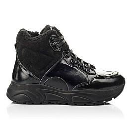 Детские зимние ботинки на шерсти Woopy Fashion черные для девочек натуральная лаковая кожа и замша размер 33-39 (7221) Фото 4