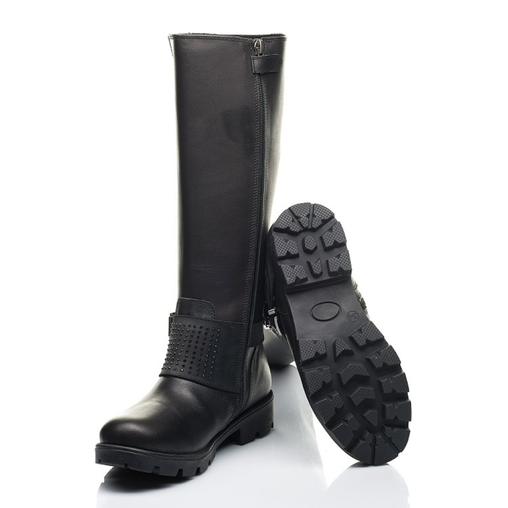 Детские зимние сапоги на меху Woopy Fashion черные для девочек натуральная кожа размер 33-39 (7222) Фото 2