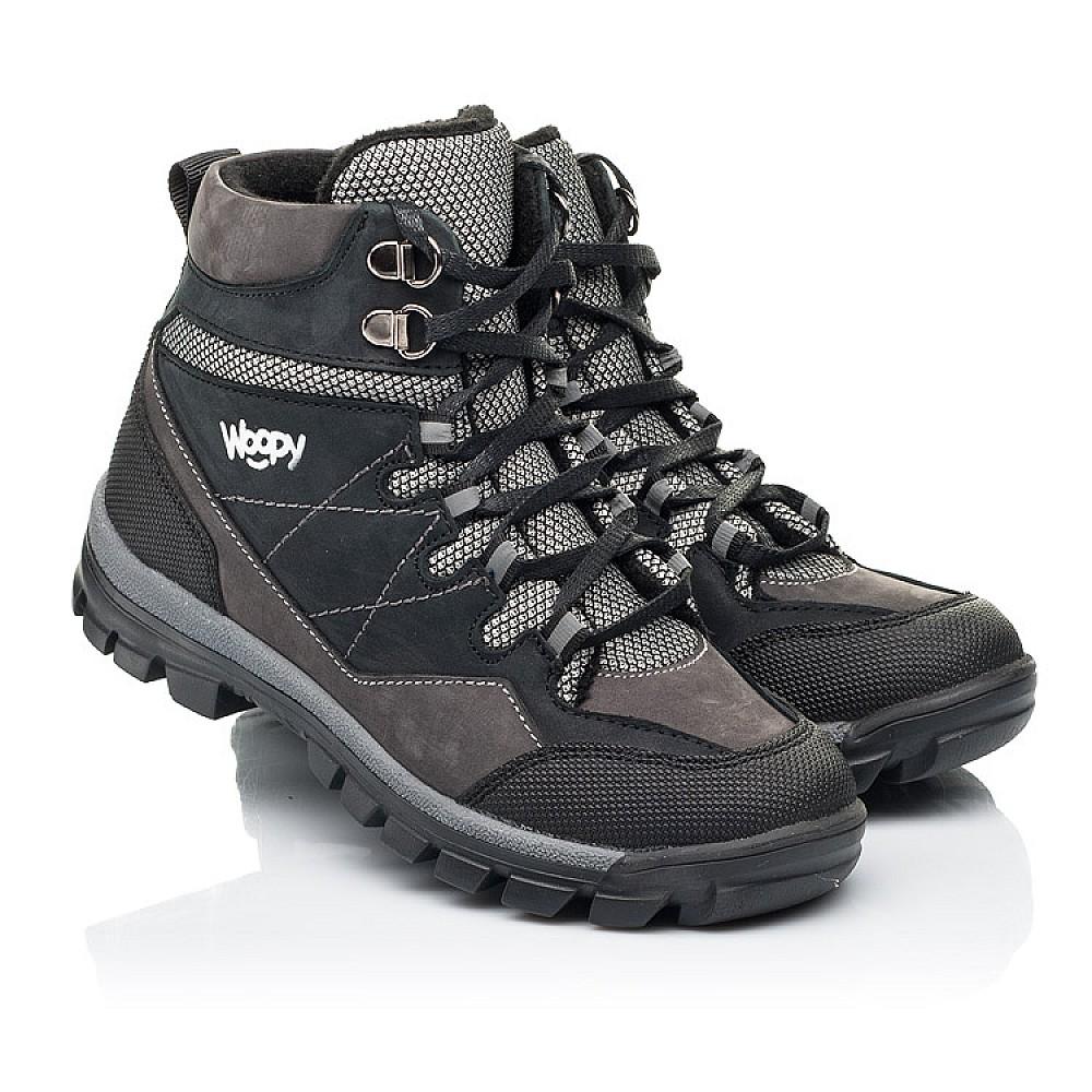 Детские ботинки еврозима Woopy Fashion черные, серые для мальчиков натуральный нубук размер 28-38 (7223) Фото 1