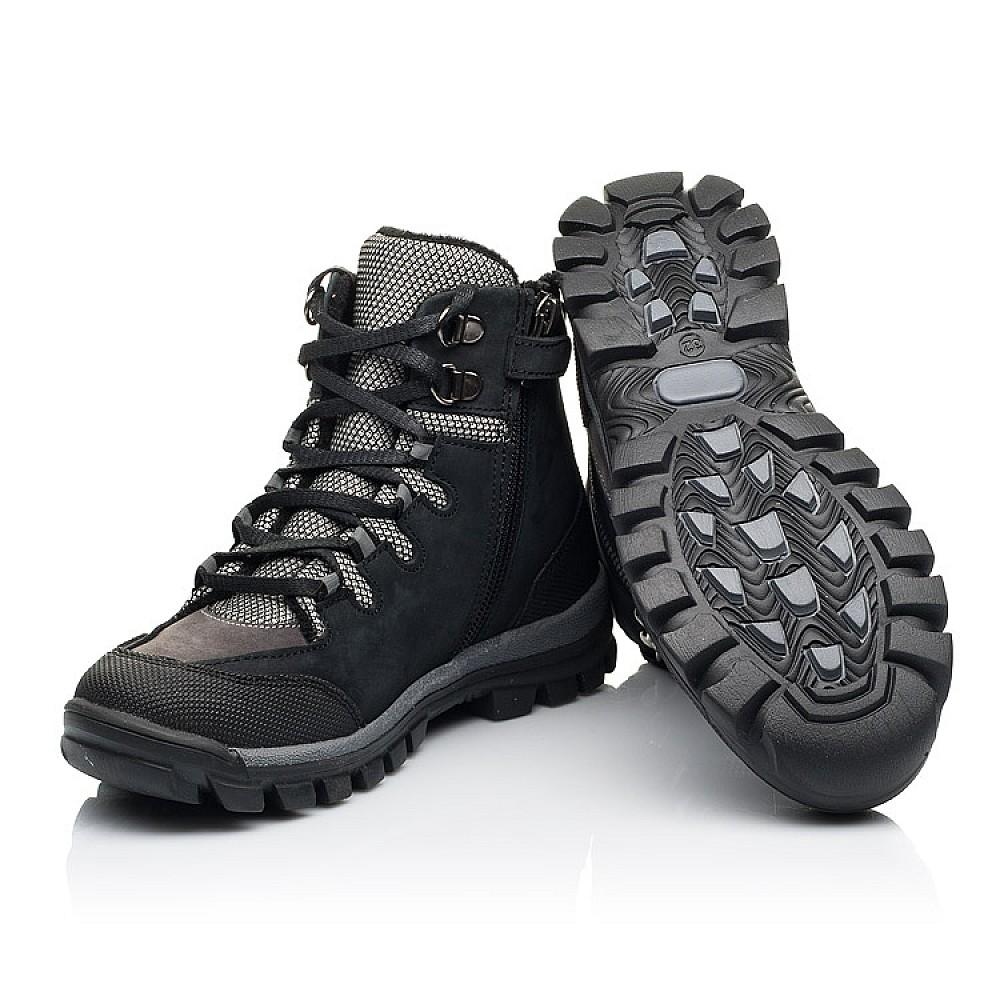 Детские ботинки еврозима Woopy Fashion черные, серые для мальчиков натуральный нубук размер 28-38 (7223) Фото 2