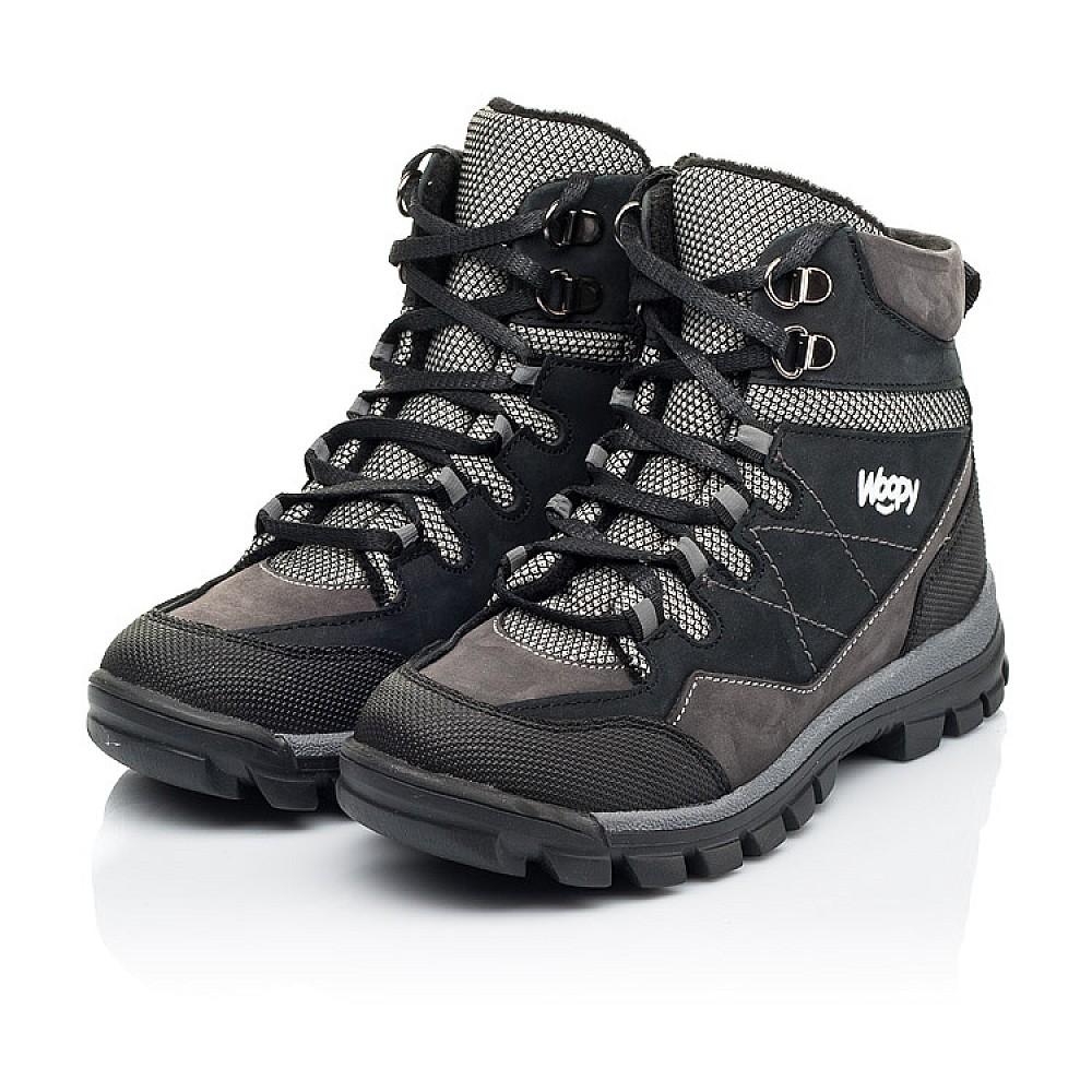 Детские ботинки еврозима Woopy Fashion черные, серые для мальчиков натуральный нубук размер 28-38 (7223) Фото 3