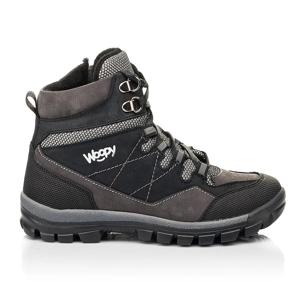 Детские ботинки еврозима Woopy Fashion черные, серые для мальчиков натуральный нубук размер 28-38 (7223) Фото 4
