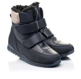 Детские зимние ботинки на шерсти Woopy Fashion темно-синие для мальчиков натуральная кожа размер 25-30 (7224) Фото 1