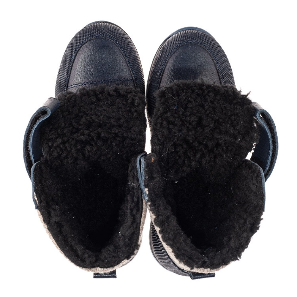Детские зимние ботинки на шерсти Woopy Fashion темно-синие для мальчиков натуральная кожа размер 25-33 (7224) Фото 5