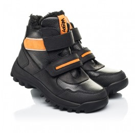 Детские зимние ботинки на шерсти Woopy Fashion черные для мальчиков натуральная кожа, нубук размер 23-28 (7226) Фото 1