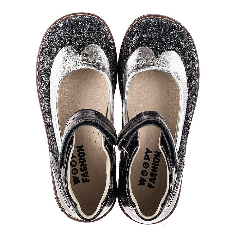Детские туфли Woopy Orthopedic черные для девочек натуральная лаковая кожа / современный, модный текстиль размер 24-34 (7228) Фото 5